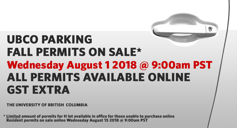 UBCO Fall Parking Permits on Sale
